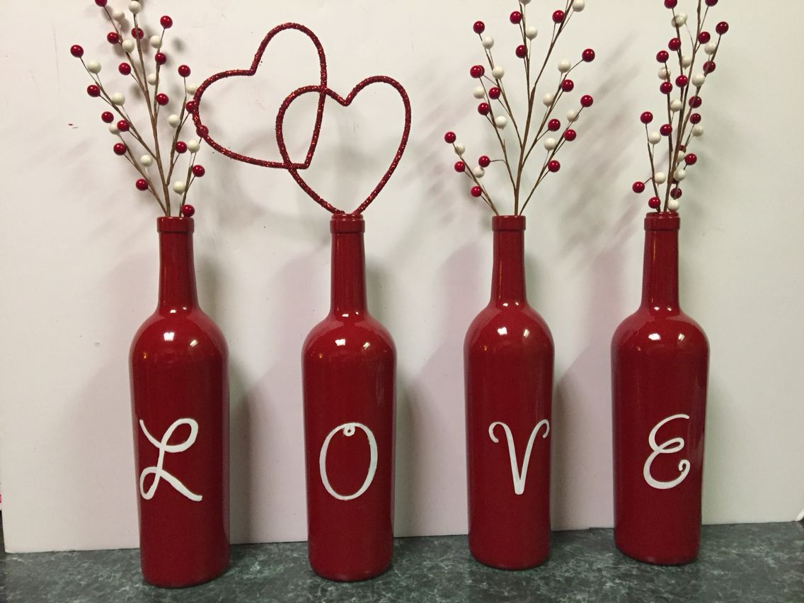 Valentine S Day Wine Bottles With Images Valentine S Day Diy Valentines Wine Diy Valentines Crafts