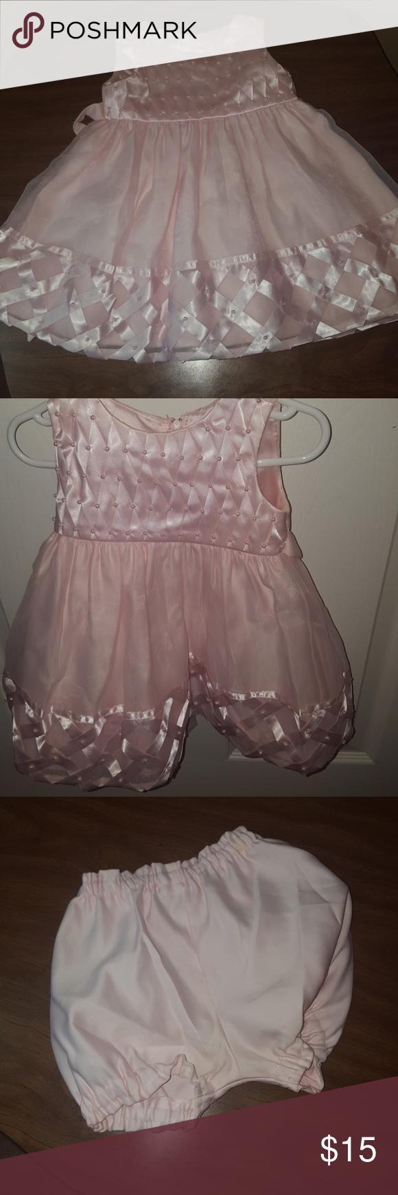 Lace dress pink  Satin u Lace Dress  Soft Pink with Pearls  Pink satin dress Pink