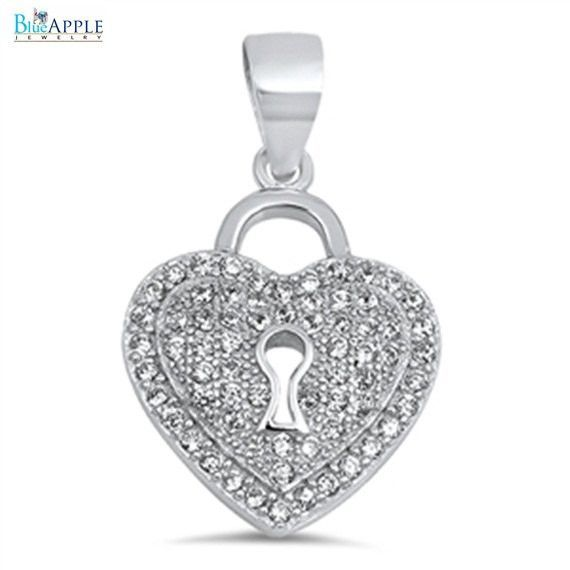 Sterling Silver Necklace micro pave Crystal Love Heart Jade Pendant Gift w Chain