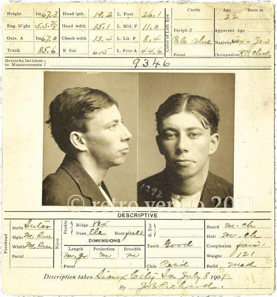 Criminal Mug Shot Circa 1907 - $40 fr Retro Vertigo | DESIGN