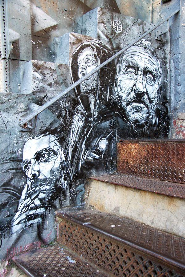 Graffiti stencil art by street artist c215 arte urbano for Graffitis y murales callejeros