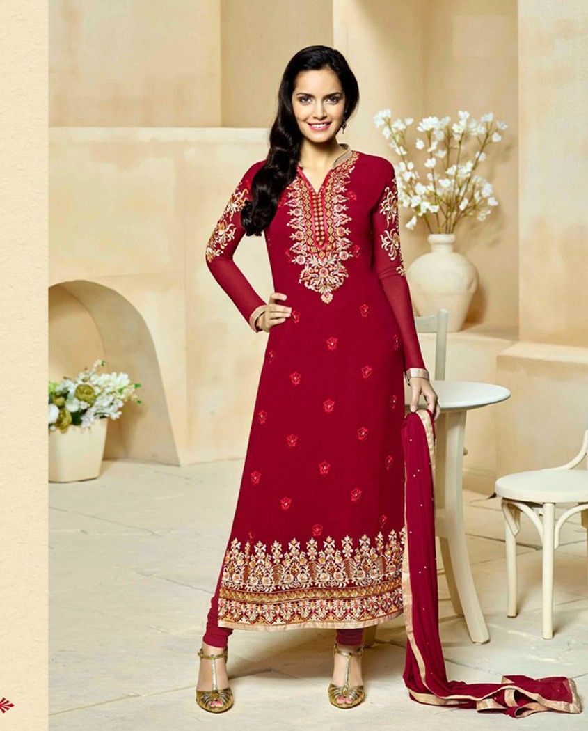Maroon long suit with golden thread embroidered neckline maroon