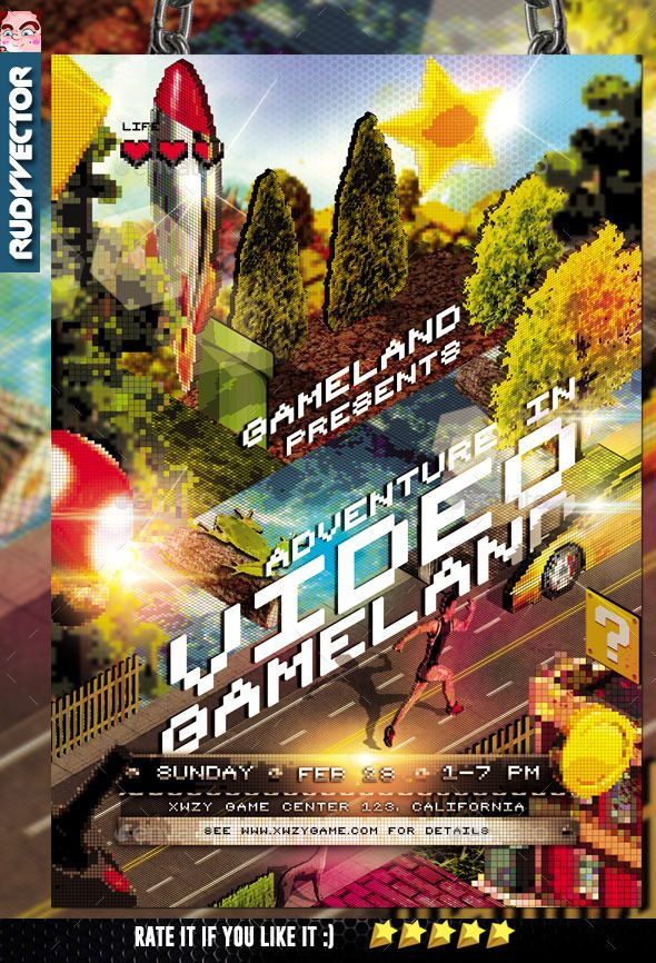 Isometric Video Game Event Flyer Event flyers, Flyer template - competition flyer template