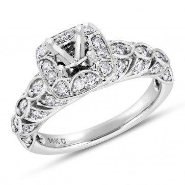 Vow to Wow Collection, 14k White Gold Round I2 Diamond Semi-Mount Ring, 1/2 ctw