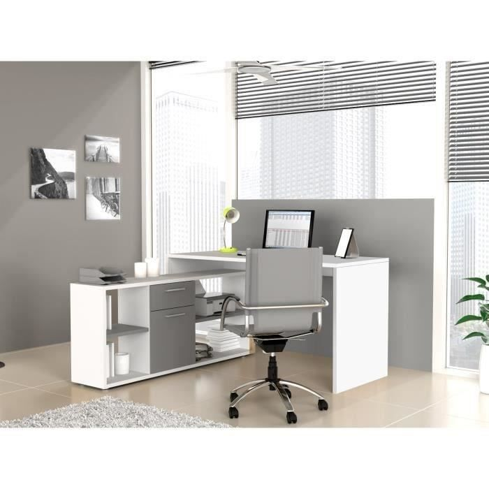 finlandek bureau d 39 angle ty contemporain blanc et gris. Black Bedroom Furniture Sets. Home Design Ideas