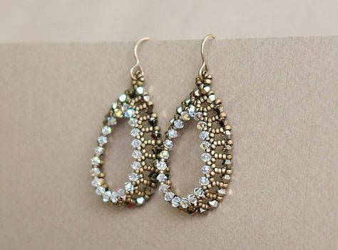 Ab Teal And Light Gold Seed Bead Teardrop Earrings Gold Seed