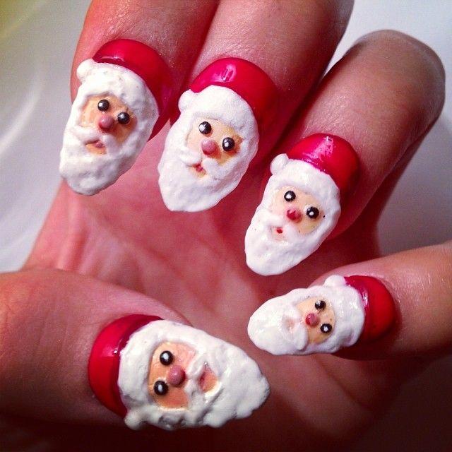 3d Santa Christmas By Nailsbymh Nail Nails Nailart