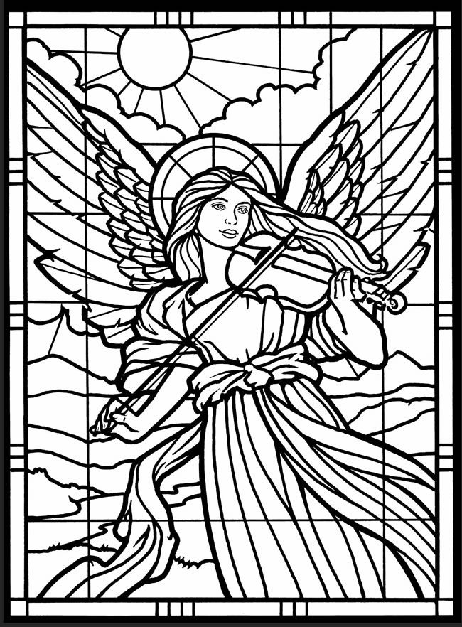 adult coloring page from amazing angels stained glass coloring book dover publications - Coloring Pages Beautiful Angels