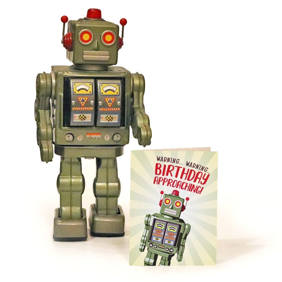 Robot birthday card birthday warning card funny birthday card