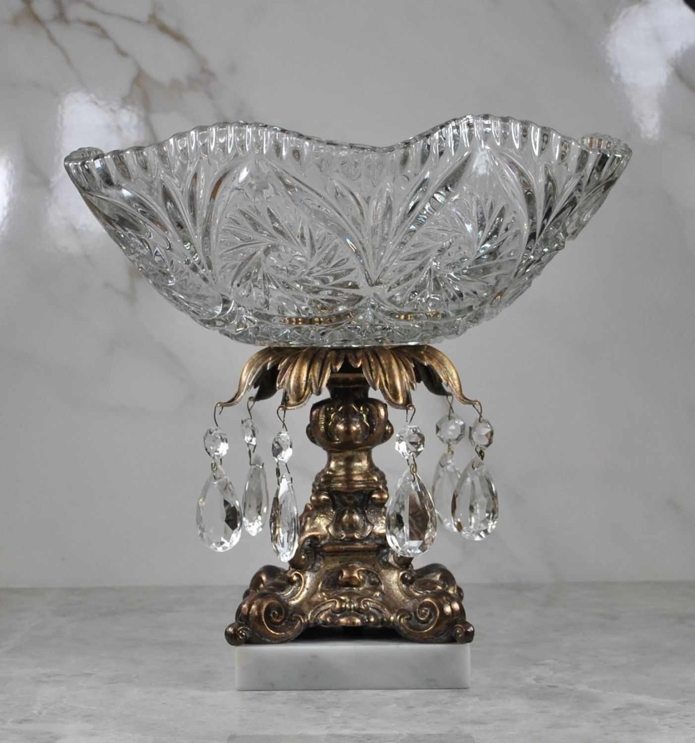 Vintage Crystal Chandelier Bowl Centerpiece Make In Italy Gilt Bronze Pedestal Marble Base Dish Cake Plate Fruit