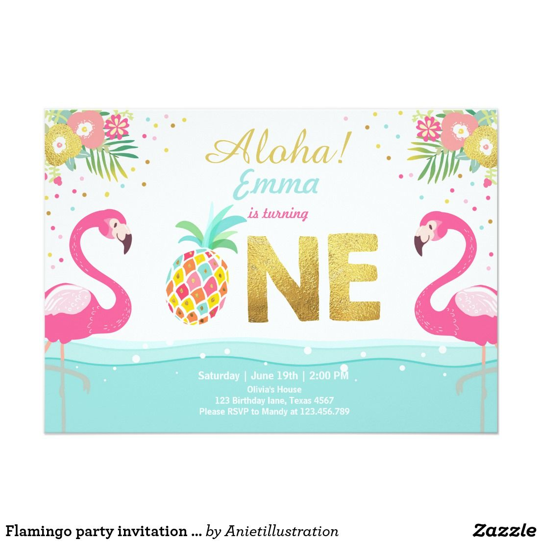 flamingo party invitation tropical pineappel luau in 2018 happy