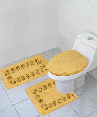 Gorgeoushomelinen 5 3 Piece Gold Embroidered Bathroom Bath Rug