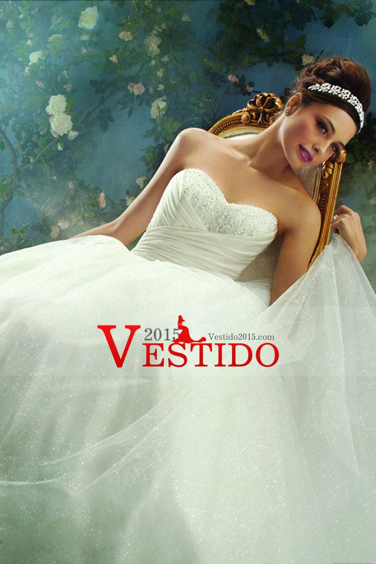 2014 vestido de boda exquisito cariño una línea de perlas con tul y volantes