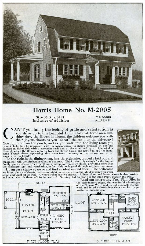 1920 Dutch Colonial House Plan Harris Home Catalog Dutch Colonial Homes Dutch Colonial Colonial House Plans