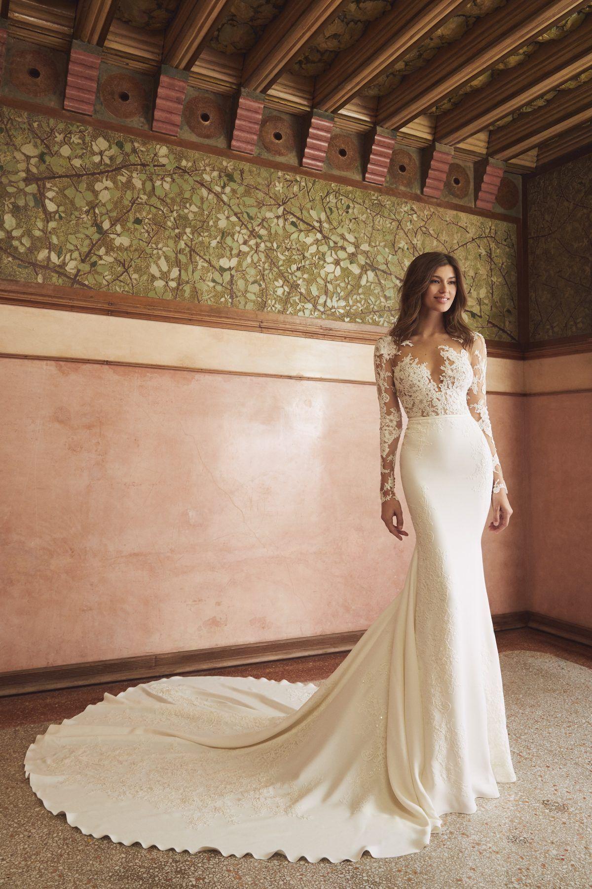 Long Sleeve Illusion Neckline Lace Bodice Sheath Wedding