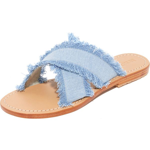 Mystique Crisscross Denim Slides (10,390 INR) ❤ liked on Polyvore featuring shoes, sandals, leather sole sandals, criss cross strap sandals, crisscross shoes, leather sole shoes and denim sandals
