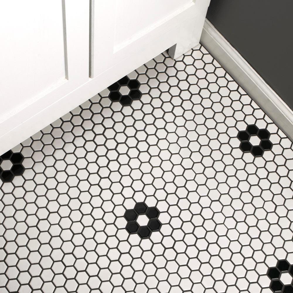 merola tile metro hex glossy white with