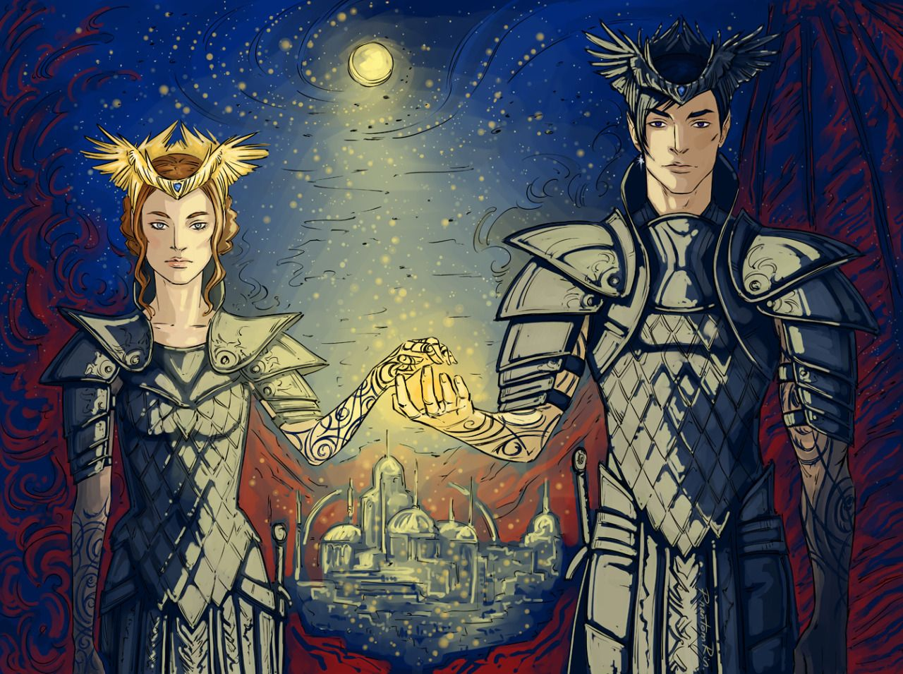 """phantomrin: """"the rulers of the Night Court Feyre & Rhys (ACOMAF by @sjmaas) (Saint Hedgehogs, I'm relieved I finished it at last T_T) """""""