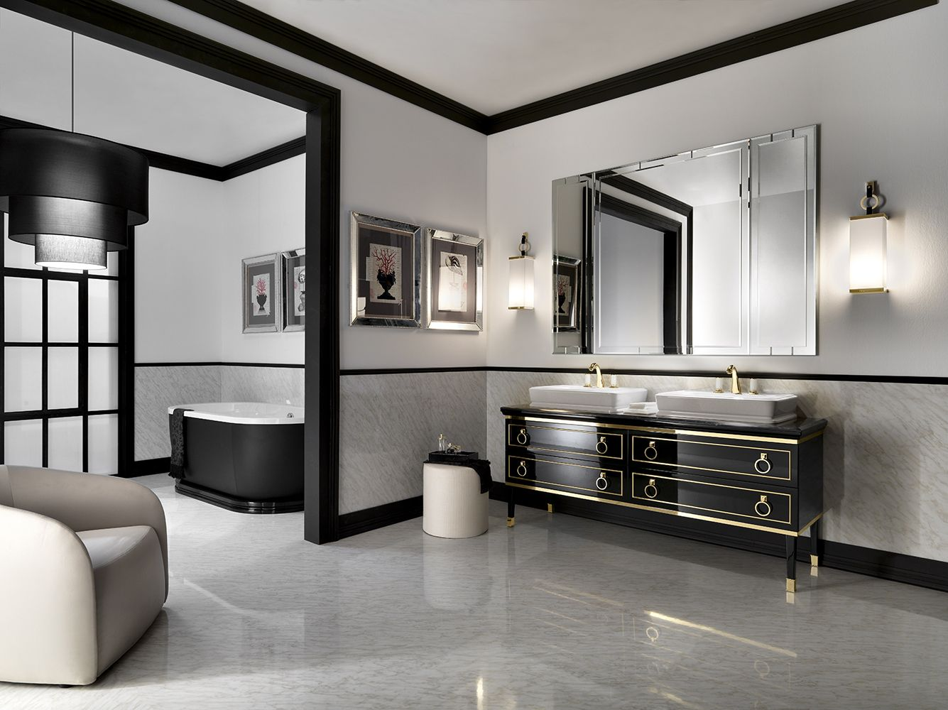 Oasis's elegant bath vanity in black and gold / Lutetia Collection on elegant white marble bathroom, pure gold bathroom, elegant shabby chic bathroom, elegant painted bathroom, elegant faux bathroom, elegant black & white bathroom,