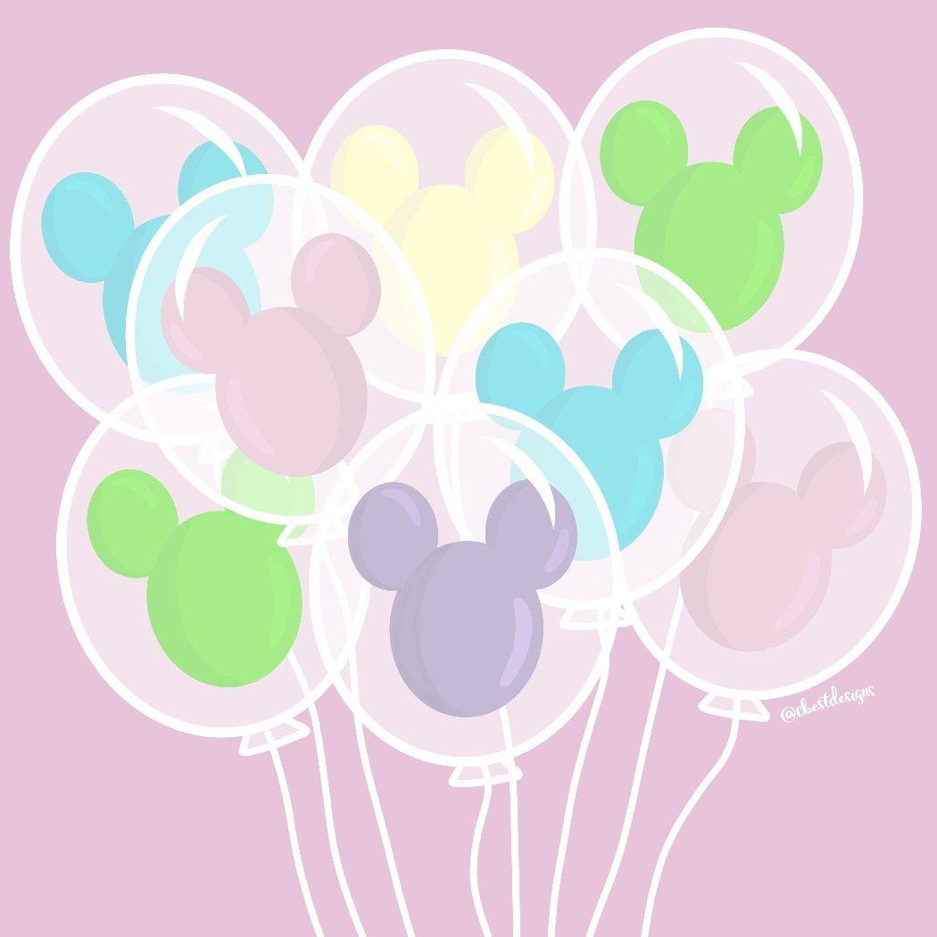 Mickey Disneyland Balloons Kawaii Pastel Created By Cb Designs Disney Balloons Disney Phone Wallpaper Kawaii Disney