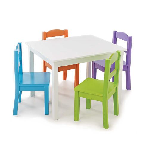 Tot Tutors White Table with 4 Vivid Colors Chair Set - Tot Tutors ...