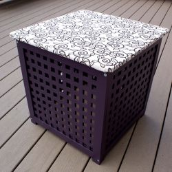 A coat of paint and fabric transform a generic Ikea table