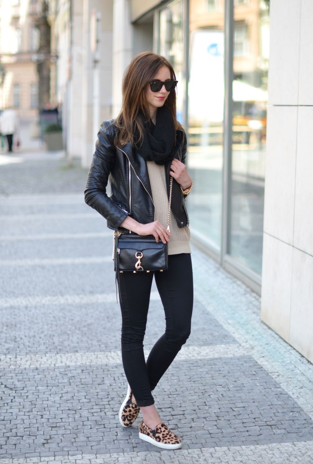 796861e3d02b leopard slip ons + leather jacket | Style {Fall Casual} | Fashion ...