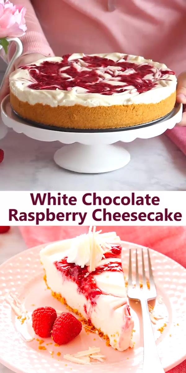 No Bake White Chocolate Raspberry Cheesecake