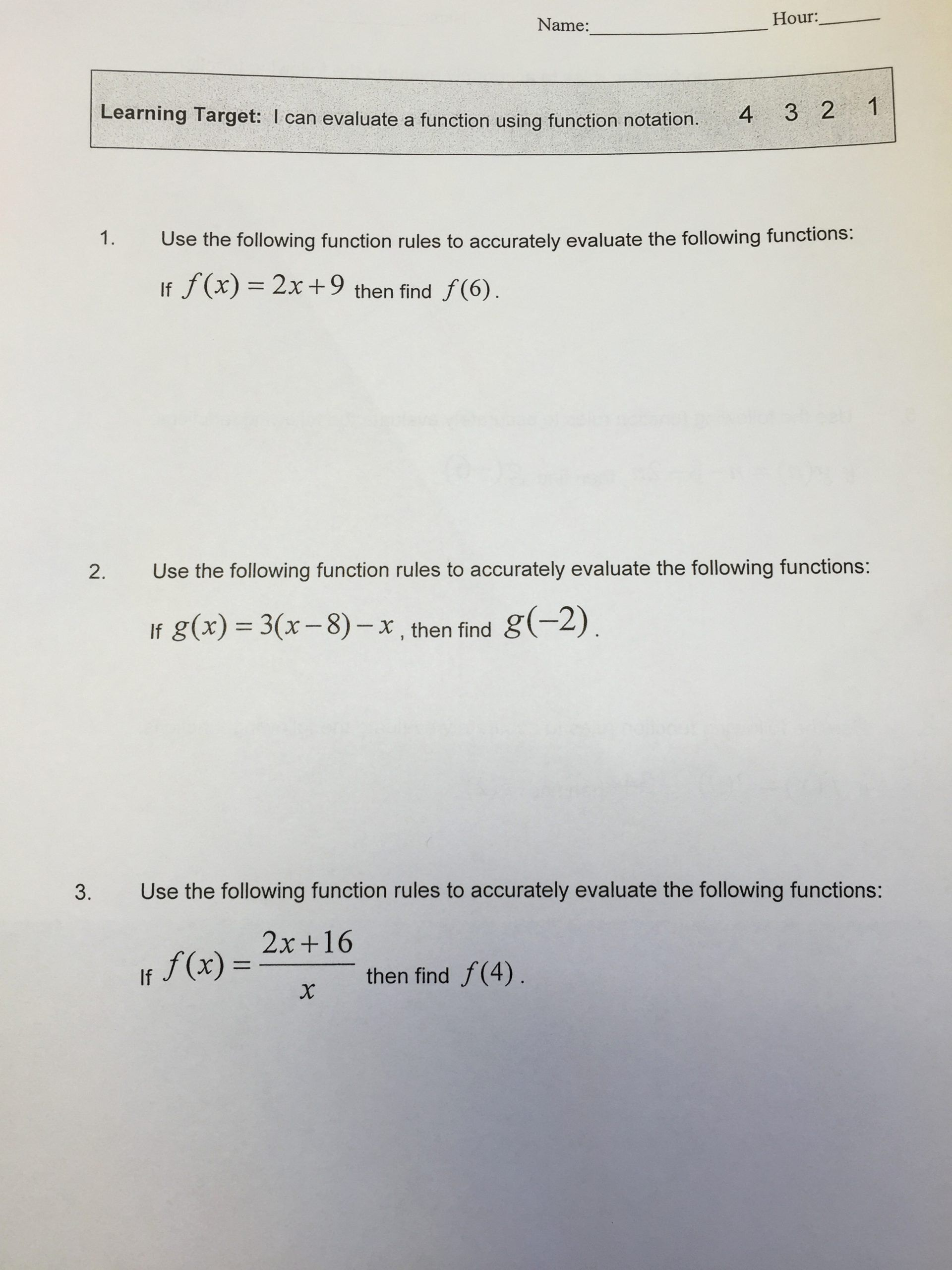 Algebra 1 Function Notation Worksheet New I Can Evaluate A