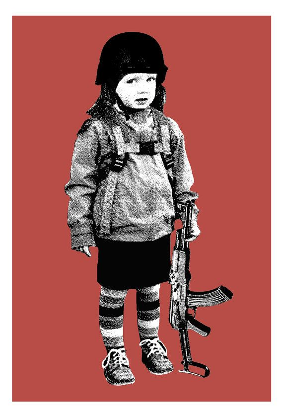 Screen printed Second Grade Amendment art print red by bmethe