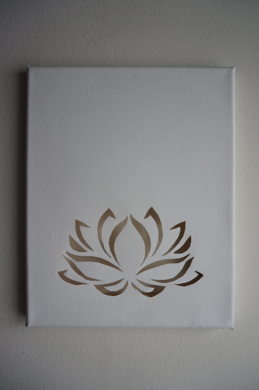 Lotus Flower Cutout On Blank Canvas Love For Art Pinterest