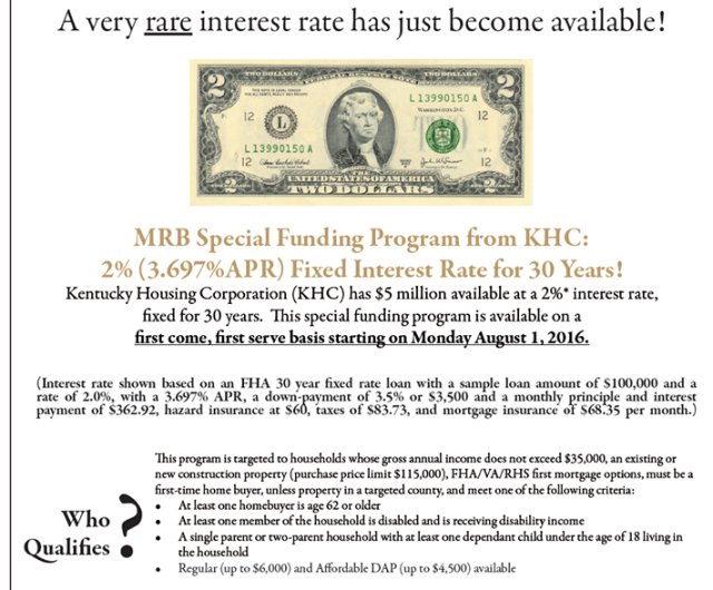 Kentucky Housing Offering 2 Fixed 30 Year Fixed Rate Home Loans For Kentucky First Time Home Buyers With Household Incomes Less Than 35 000 Mortgage Lenders First Time Home Buyers Mortgage Loans