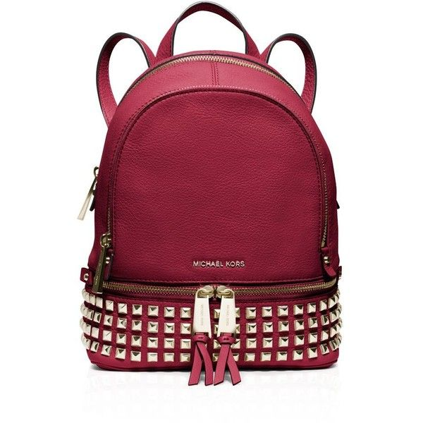 1fd0b653af6e Michael Michael Kors Extra Small Rhea Zip Studded Backpack ($258) ❤ liked  on Polyvore featuring bags, backpacks, cherry, studded bag, knapsack bags,  mini ...