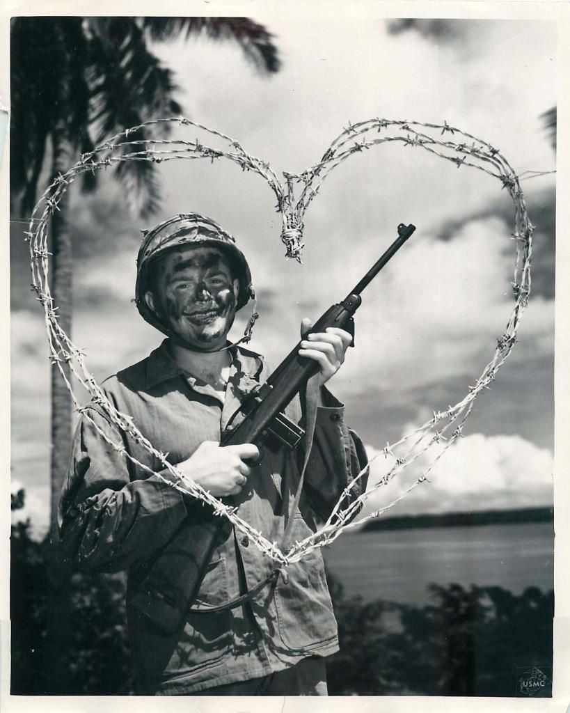 Wwii us 1st division marine sends barbed wire heart valentine 1945 smiling through a barbed wire heart 1st division marine send valentines greeting to kristyandbryce Image collections