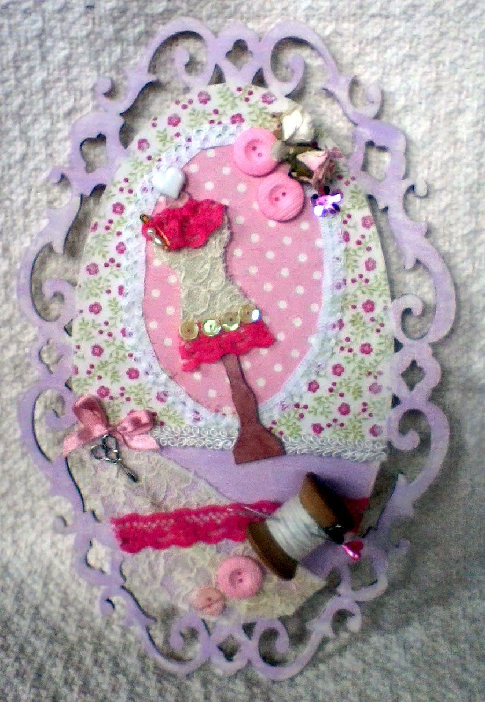 Cuadro vintage con tema de costura decorado con decoupage - Cuadros con botones ...