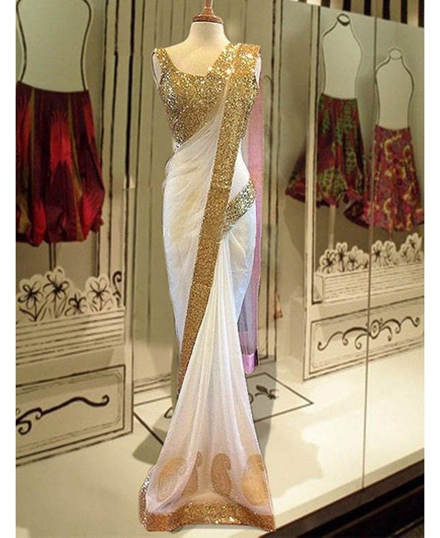 Wedding White Sarees Online: Pakiza Designer - Lovely White Net Designer Saree