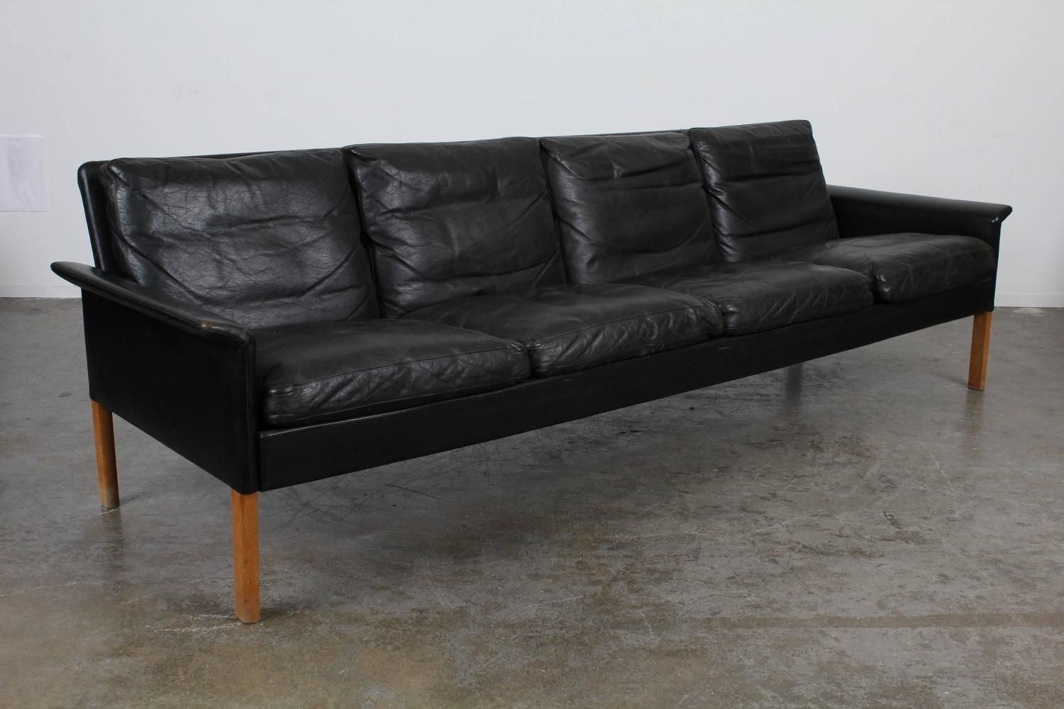 Danish Mid Century Modern Hans Olsen Black Leather Sofa 2 Black