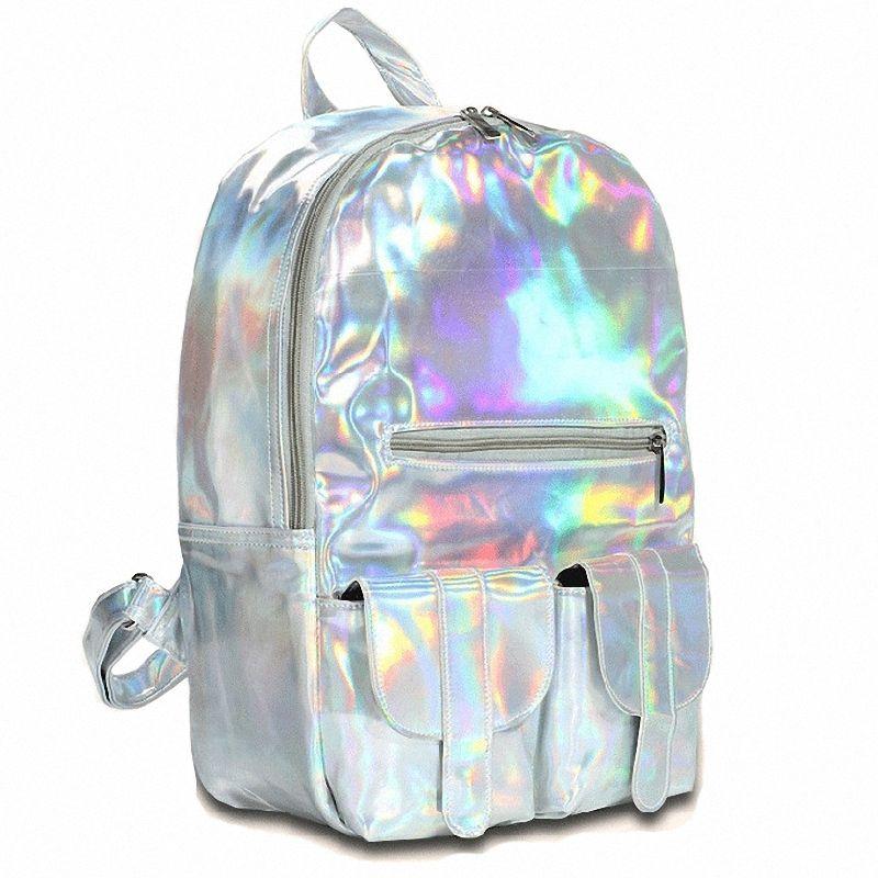 Women Silver Hologram Laser Backpack - http://pastelgothfreak.com