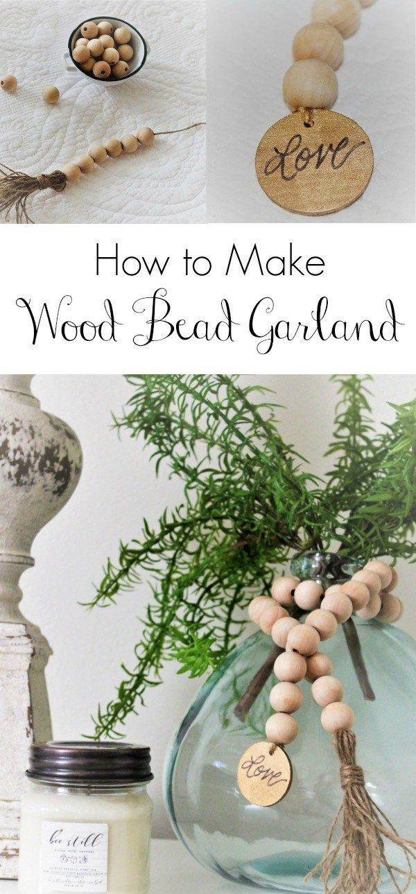 How to's : A step by step diy to make wood bead garland with tassels. An easy and inexpensive way to add farmhouse charm to your home.