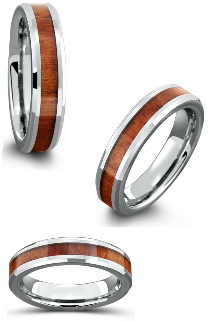 5mm Handcrafted Tungsten Koa Wood Ring Handcrafted Wood Rings