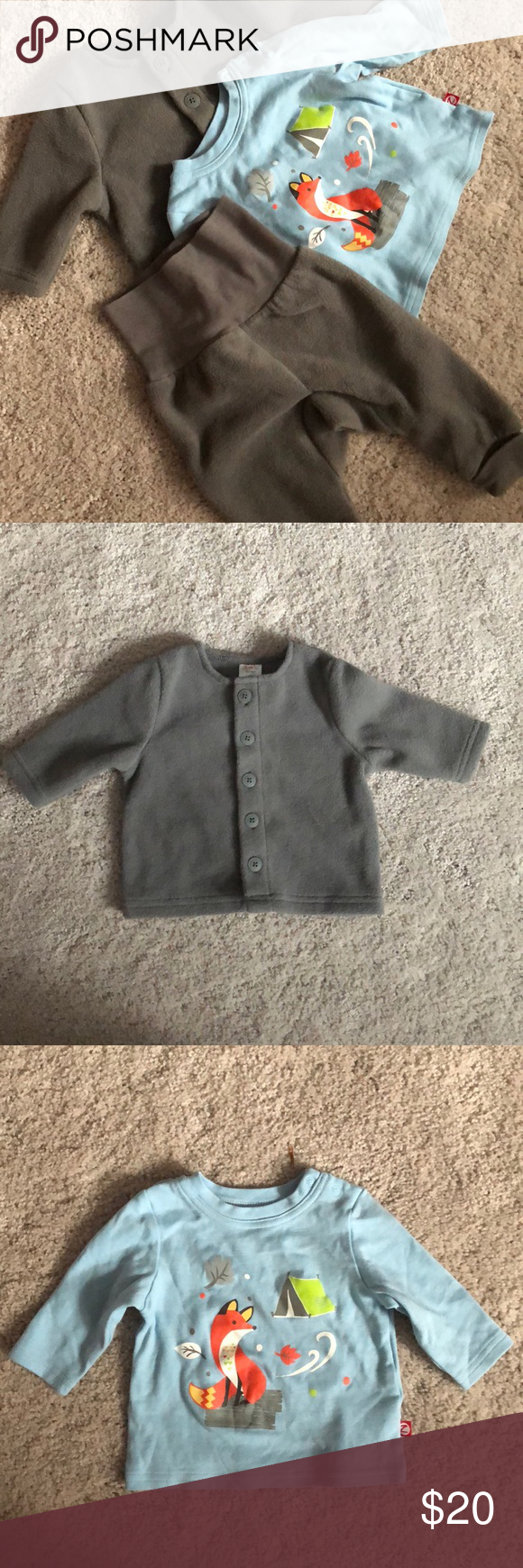 9479fcf30 Long Sleeve Shirts · Kids Shop · 6 Mo · Foxes · ⭐️NEW⭐ Zutano baby fleece  outfit 3 piece 6 months New without tags Zutano