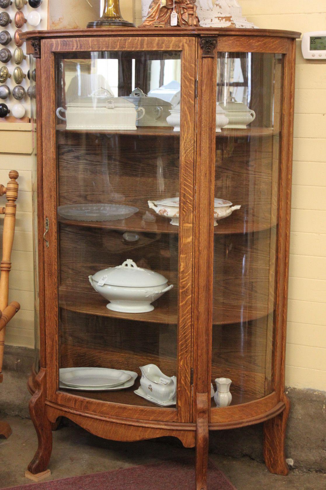 55+ Antique Oak China Curved Glass Kitchen