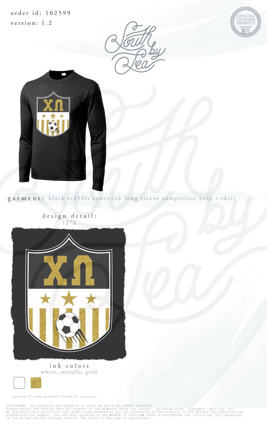 Black t shirt with gold design - Chi Omega Xo Soccer Theme Long Sleeve T Shirt Gold Foil Intramural