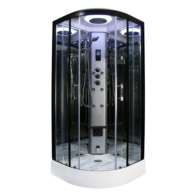 Insignia Steam Shower Enclosure Cubicle 800 x 800 Black Body Jets Premium Cabin