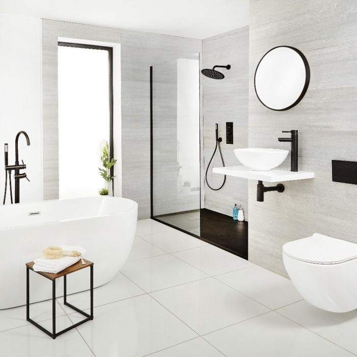 Photo of Black bathroom