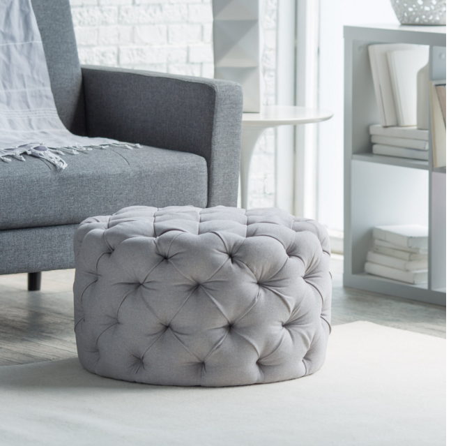 Allover Grey Round Tufted Ottoman | I like | Pinterest | Muebles con ...