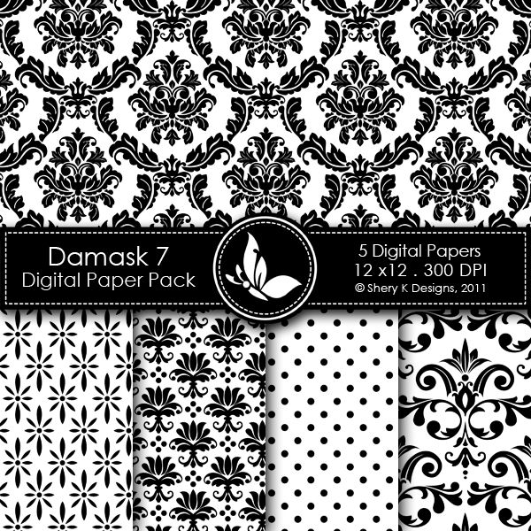 This listing is for 5 printable High Quality Digital papers.    Each paper measures 12 x 12 inch, 300 DPI, JPEG format.    Great for scrapbooking, making cards, invitations, tags and photographers.