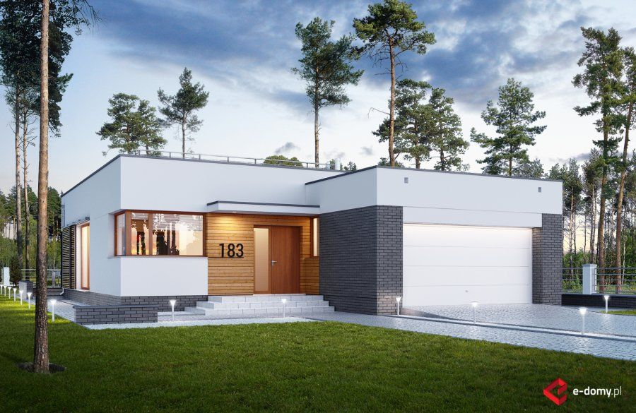 e 183 l nowoczesny dom parterowy projekty dom w e domy pl projekty nowoczesnych dom w. Black Bedroom Furniture Sets. Home Design Ideas