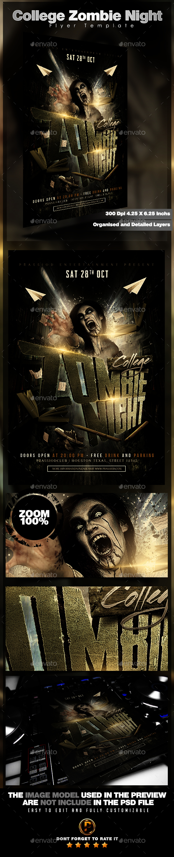College Zombie Night Flyer Template  Flyer Template Event Flyers