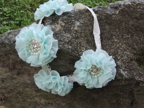 Mint Blue Flower halo with pearls and by LavenderRoseAcc on Etsy